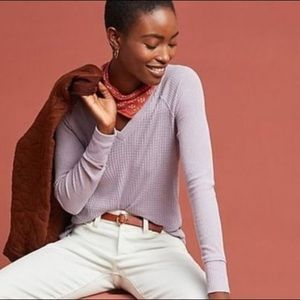 """Maeve / Lilac """"Pearson"""" Waffle Knit V-Neck Thermal"""